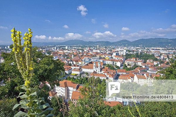 Panoramablick auf Graz vom Grazer Uhrturm auf dem Schlossberg  Graz  Steiermark  Österreich  Europa