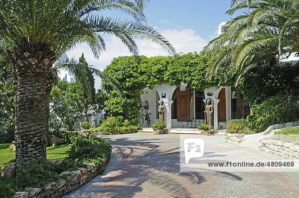 Palmen  Eingang  Hacienda Na Xamen  Hotel  San Miguel de la Balensat  Ibiza  Pityusen  Balearen  Insel  Spanien  Europa