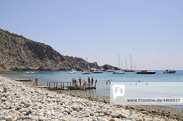 Cala des Jondal  rocky beach  pier  rocky coast  Sant Josep de sa Talaia  San Jose  Ibiza  Pityuses  Balearic Island  Spain  Europe