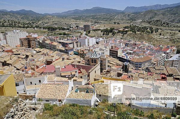 Stadtansicht  Übersicht  Kleinstadt  Xixona  Jijona  La Vila Joiosa  Villajoyosa  Costa Blanca  Provinz Alicante  Spanien  Europa