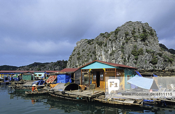 Floating homes  Halong Bay  Vietnam  Southeast Asia