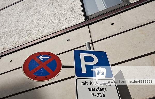 Verkehrsschilder  parken  Parkverbot