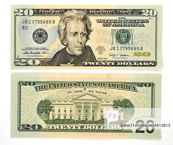 20-Dollar Banknote  Vorderseite  Rückseite