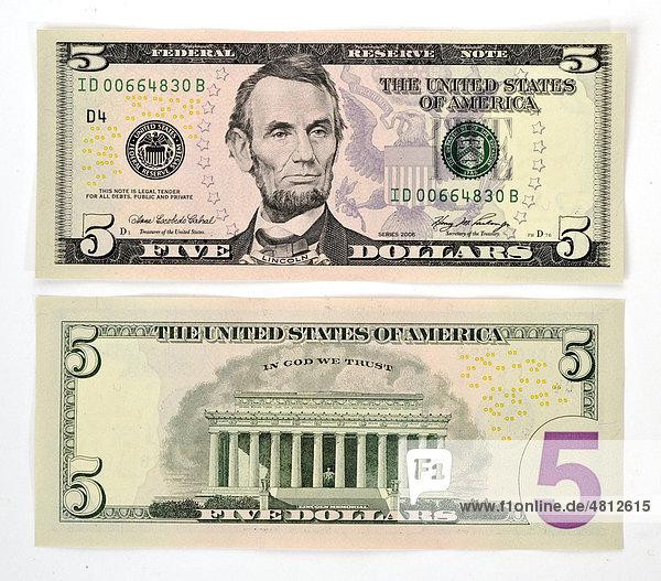 5-Dollar Banknote  Vorderseite  Rückseite