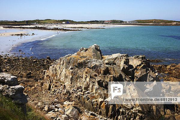 Badestrand  Pembroke Bay im Nordosten von Guernsey  Kanalinseln  Europa