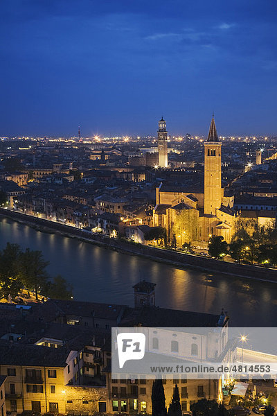 View of Verona with Sant'Anastasia Church  Veneto  Italy  Europe