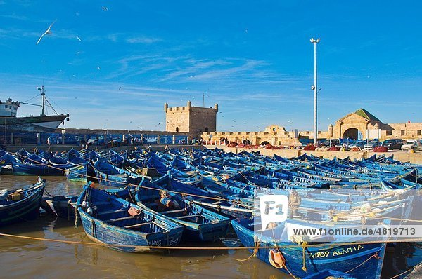 Fishing boats in the Marina the port Essaouira central Morocco northern Africa