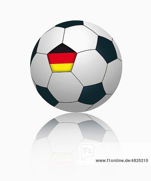 Deutsche Flagge auf Fußball  Nahaufnahme