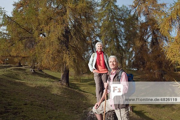Italy  South Tyrol  Mature couple hiking on dolomites