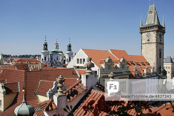 Old Town Hall  Hotel U Prince terrace  Old Town Square  Prague  Old Town  Czech Republic  Europe