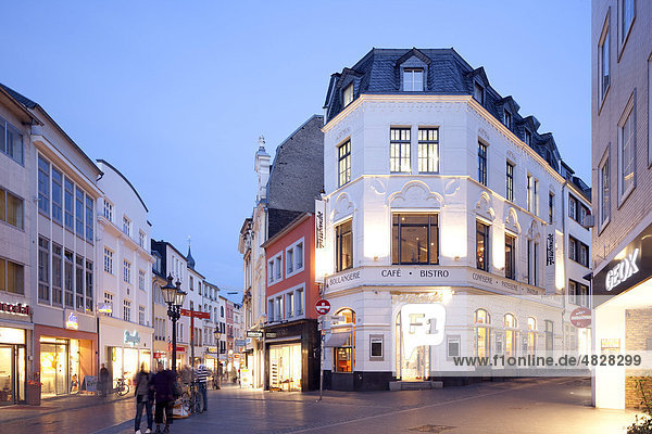 Commercial businesses in the historic town centre  Bonn  Rhineland  North Rhine-Westphalia  Germany  Europe