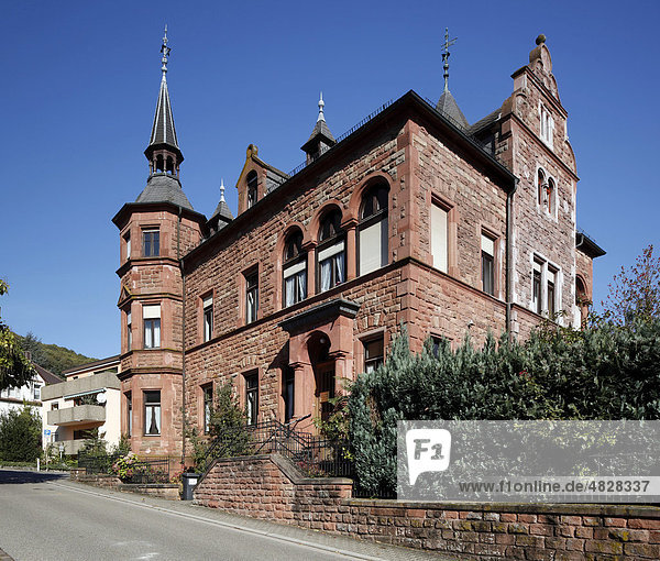 Villa with red sandstone facade  Bad Bergzabern  Southern Wine Route  Rhineland-Palatinate  Germany  Europe