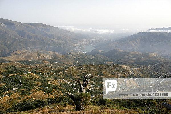 Wolken über dem Mittelmeer bei Lanjaron  Motril  Alpujarra  Sierra Nevada  Spanien  Europa