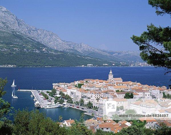 Skyline Skylines Europa Urlaub Küste Reise Stadt Insel Sehenswürdigkeit Kroatien Erbe Korcula Tourismus