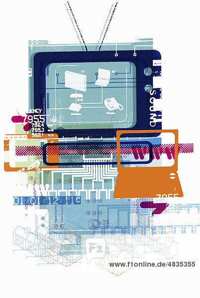 Collage aus Computerteilen