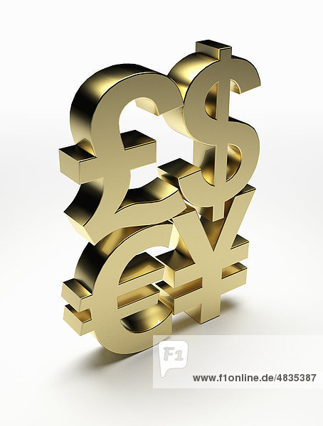 Goldene Währungssymbole