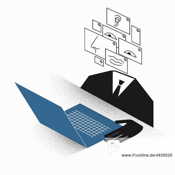 Geschäftsmann mit zusammengesetztem Kopf benutzt einen Laptop