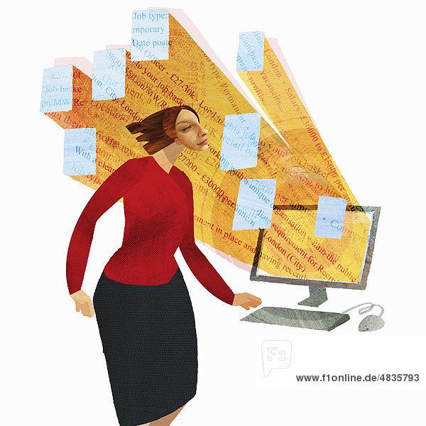 Geschäftsfrau vor Computermonitor mit herausströmenden Stellenanzeigen
