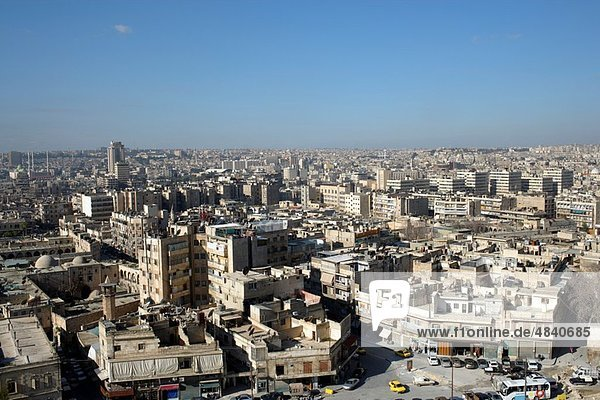 Aerial view of Aleppo on a sunny day with blue sky  Syrian  Near East  Asia