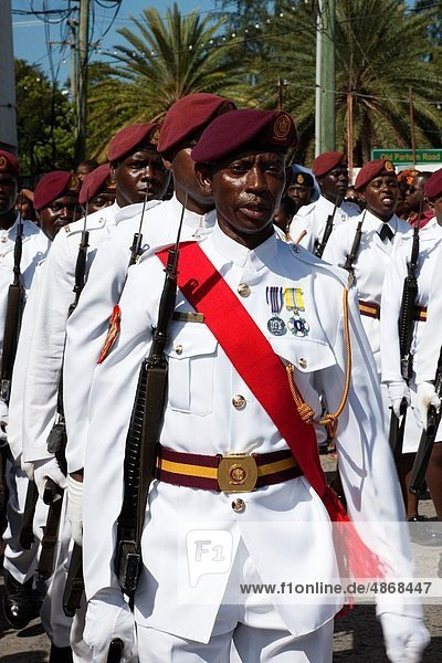 Members of the Antiguan army marching during the celebrations for Independence Day in the capitol St Johns