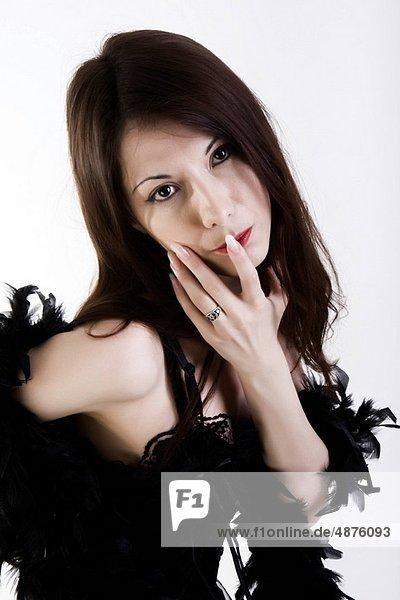 Frau  Mode  schwarz  jung  Kleid