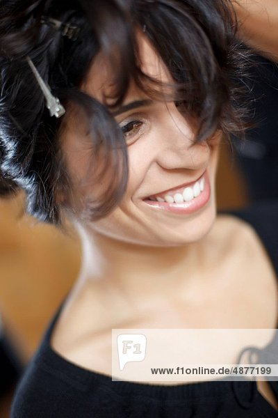 young woman with new hairstyle