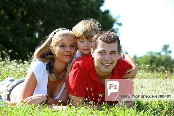 Family on a meadow