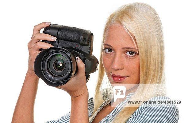 Frau  Fotografie  nehmen  jung  Fotoapparat  Kamera