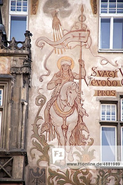 Prague  Old Town Square  house with the holy Wenzel