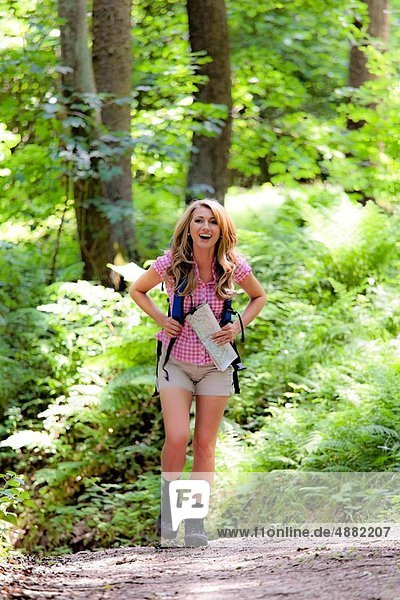 Woman in nature hiking