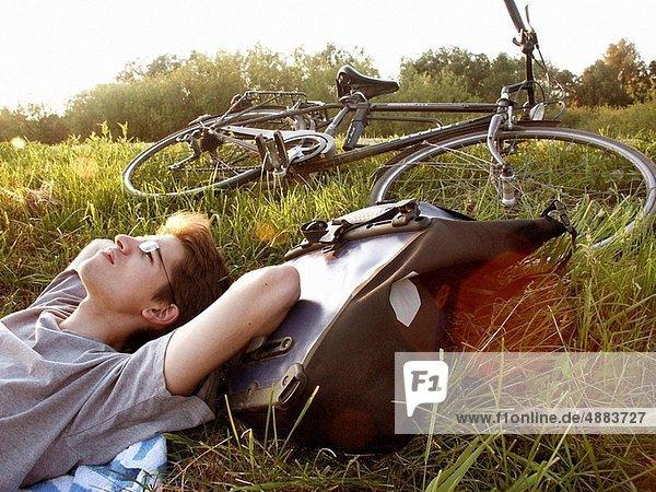 Tagesausflug  Ende  Fahrrad  Rad  einstellen