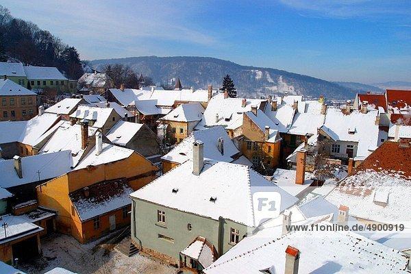 An Aerial view of Singisoara  Romania