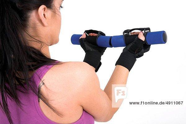 Frau  Training  jung  Gewichtheben