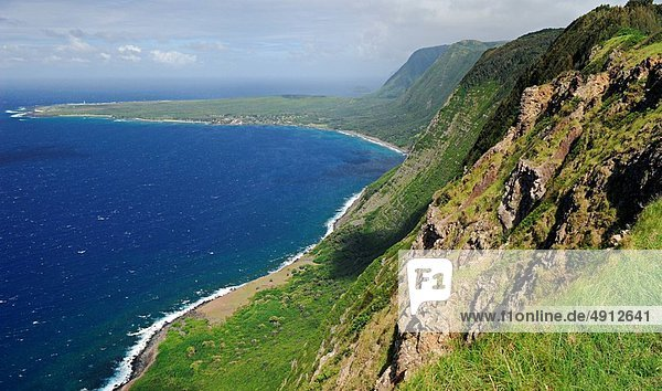 Lepra  Steilküste  Meer  schlank  Heiligtum  Hawaii  Molokai