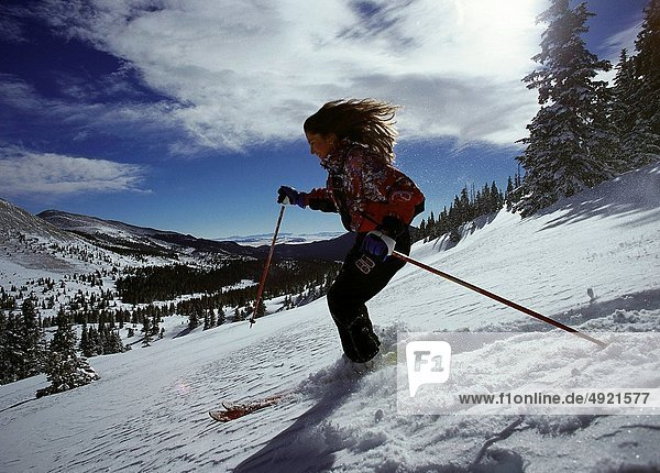 Frau  Skisport  Pulverschnee  Gesichtspuder  Schnee