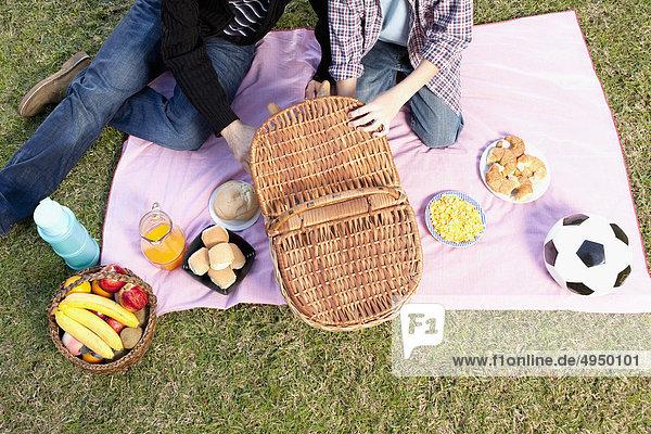 Man genießen Picknick mit seinem Sohn