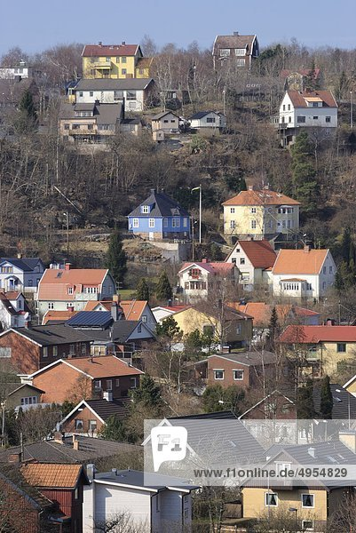 Aerial view of houses in suburban area