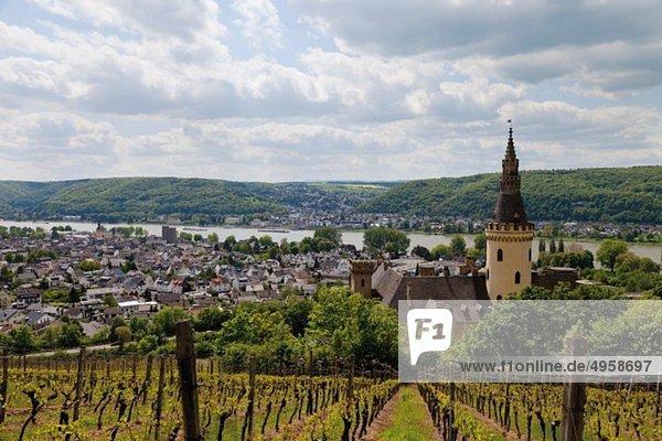 Europa  Deutschland  Rheinland-Pfalz  Blick auf die Burg Arenfels am Mittelrhein Therme Hattingen