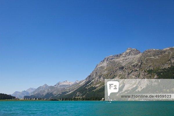 Europa  Schweiz  Graubünden  Alpen  Oberengadin  Blick auf Windsurfer am Silvaplanasee