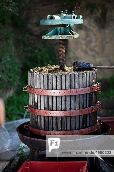 Kroatien  Baranja  Weinpresse im Weinberg