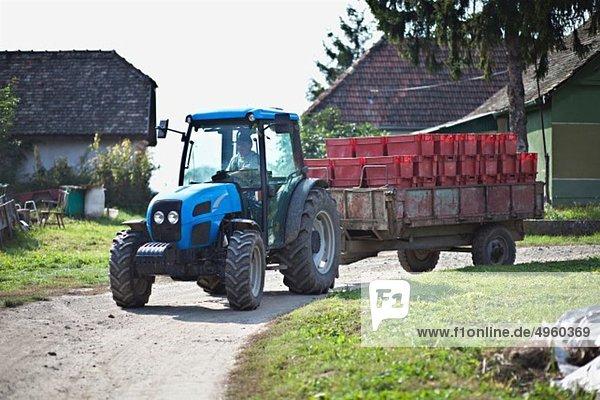 Kroatien  Baranja  Junger Mann mit Containern im Traktor Kroatien, Baranja, Junger Mann mit Containern im Traktor