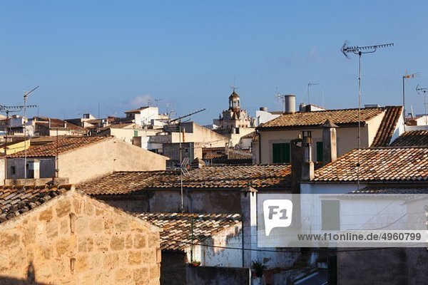 Spain  Balearic Islands  Majorca  View of old town of alcudia