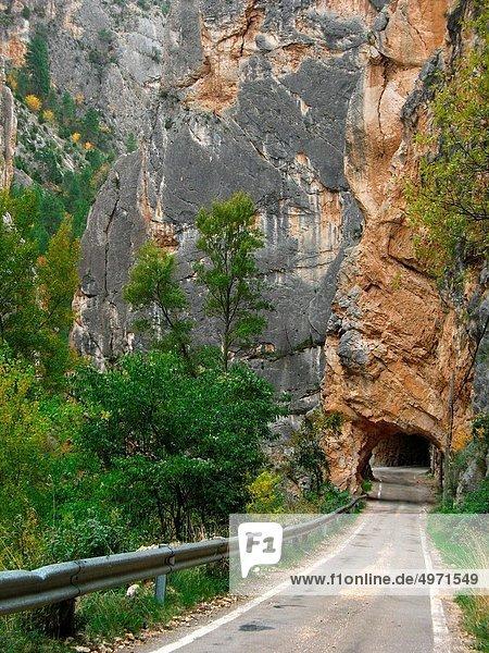 Old road  Maestrazgo  Teruel province  Aragon  Spain