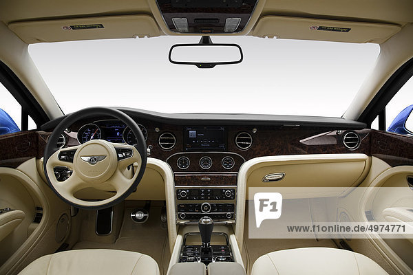 2011 Bentley Mulsanne in blau - Dashboard  Mittelkonsole  Getriebe-Shifter-Ansicht