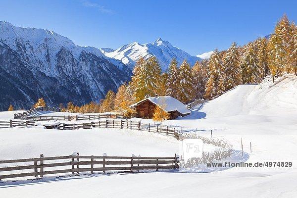 Winterliche Almhütte nahe Heiligenblut  im Hintergrund der Großglockner  Alpen  Österreich