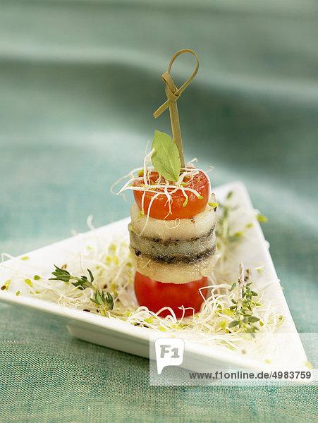 Tomaten und Salz-Cod tapas