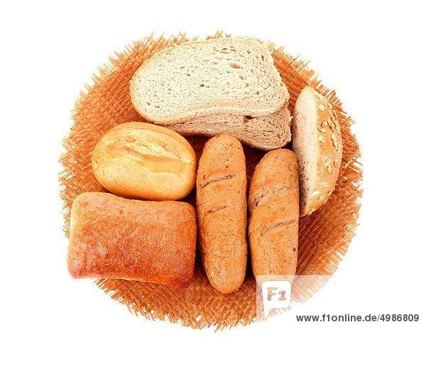 Brot  Korb  weiß  Vielfalt  Hintergrund