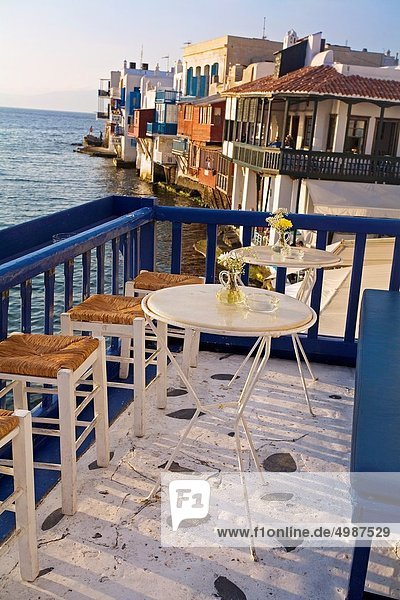 Restaurant  Insel  Kykladen  Griechenland  Mykonos  Viertel Menge