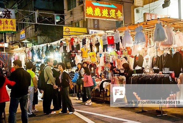 China  Hong Kong  Yau Ma Tai  shoppers at Temple Street night market