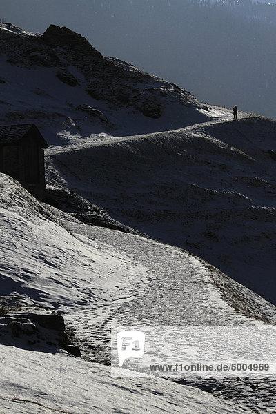 Ein Wanderer  Kanton Graubünden  Schweiz